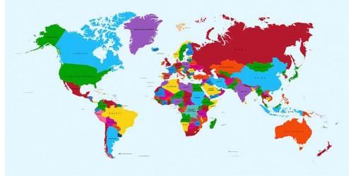 R2032 Canvas Wall Art Canvas Print World map