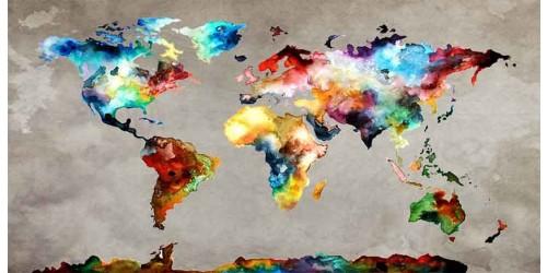 R2056 Canvas Wall Art Canvas Print World Map