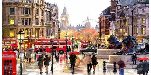R2404 London Canvas Wall Art Canvas Print Paint Efect