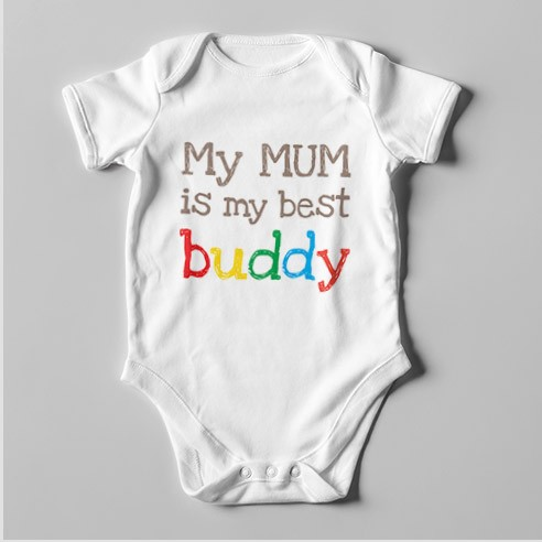 B43 Short Sleeve Baby Bodysuit My Mum is My Best Buddy