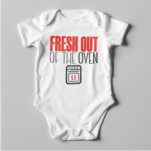 B46 Short Sleeve Baby Bodysuit Fresh Out of the Oven