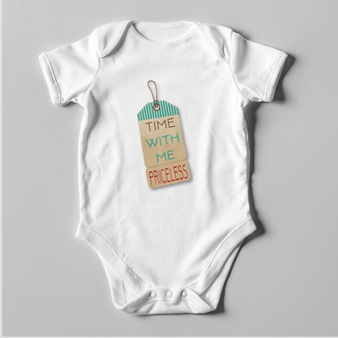 B52 Short Sleeve Baby Bodysuit Time with Me Priceless