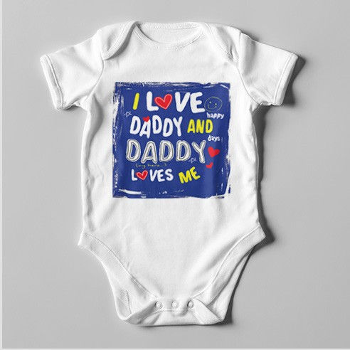 B69 Short Sleeve Baby Bodysuit I Love Daddy and Daddy Loves Me