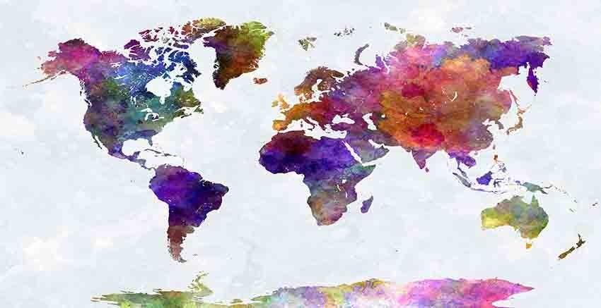 R2707 Canvas Wall Art Canvas Print World Map