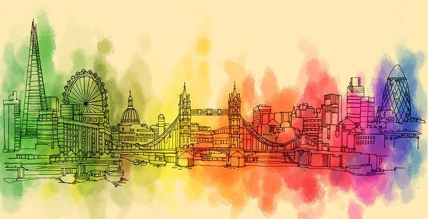 RED ART - R2882 Canvas Wall Art Canvas Print London Water Color