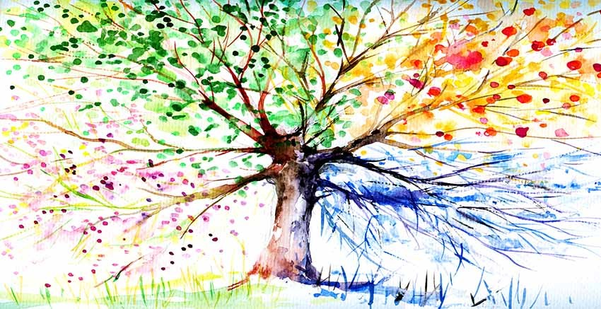 R3027 Water Colour Tree Canvas Wall Art Canvas Print