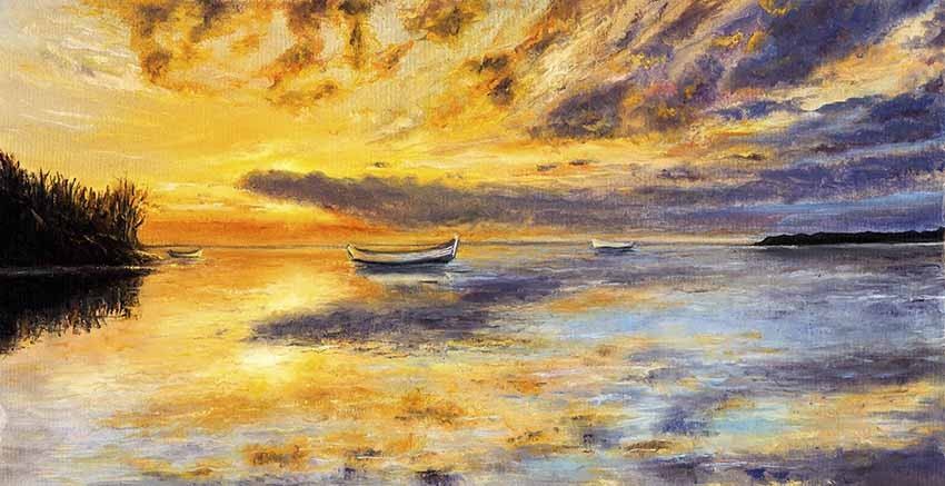 R3028 Sunset With Boat Canvas Wall Art Canvas Print