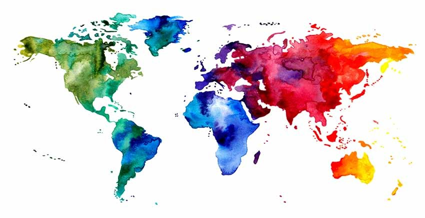 R3040 World Map Water Colour  Canvas Wall Art Canvas Print