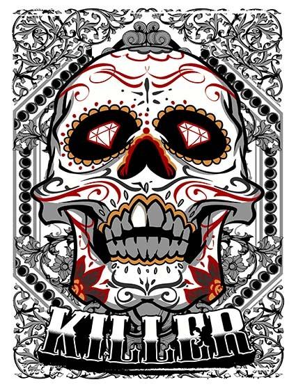 T116 Regular Fit Printed T-Shirt Sugar Skull