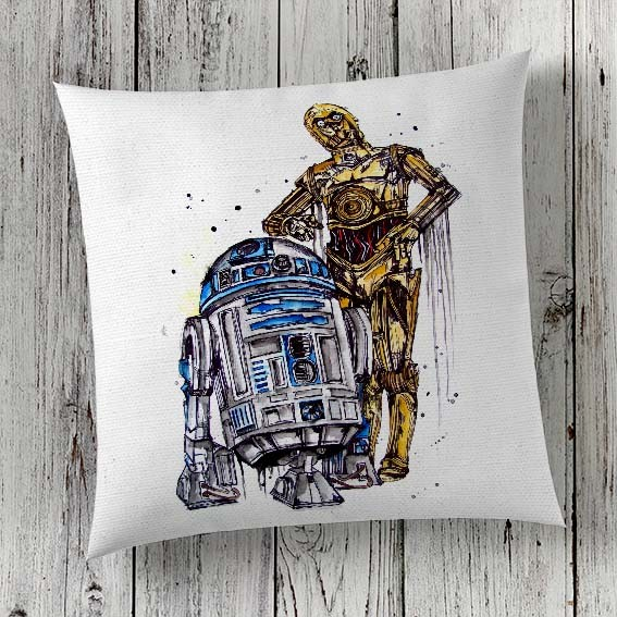 C15 Cushion Cover Sublimation Print R2D2 and C3P0