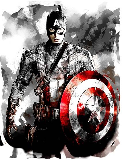 T19 Regular Fit Printed T-Shirt Black and White Captain America