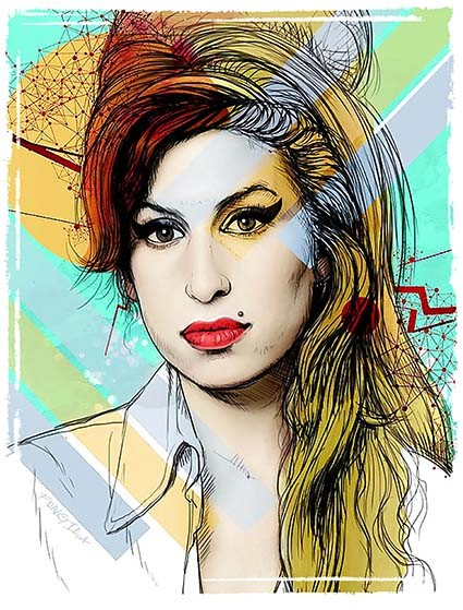 T232 Regular Fit Printed T-Shirt Amy Winehouse