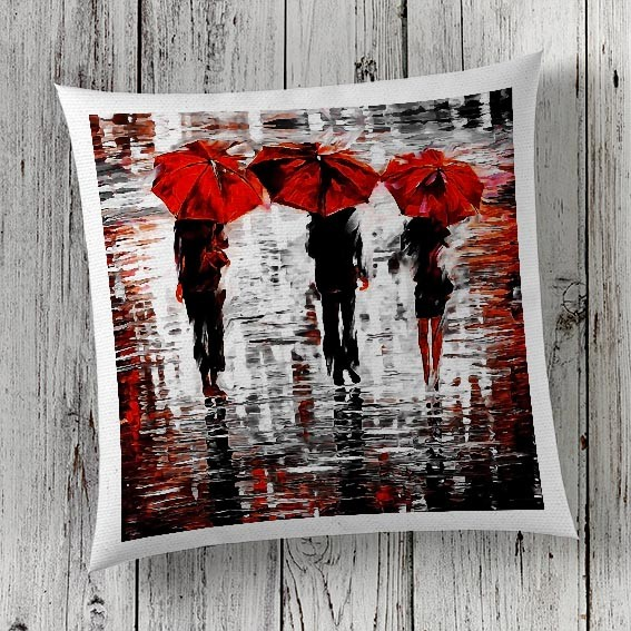 C27 Cushion Cover Sublimation Print Red Umbrellas