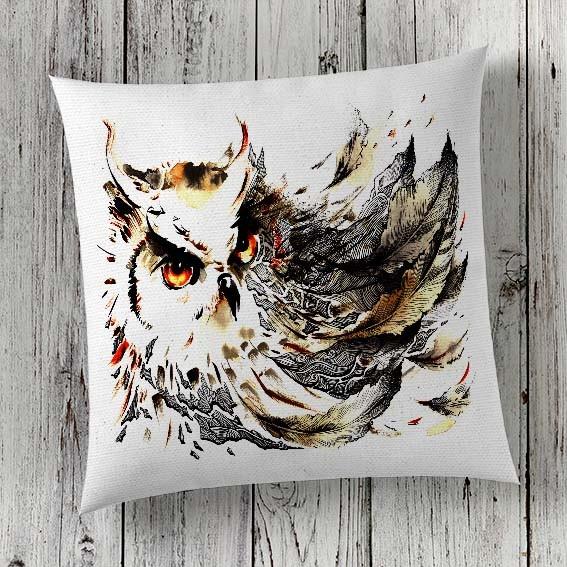 C31 Cushion Cover Sublimation Print Owl