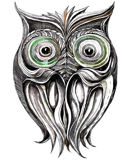 T321 Regular Fit Printed T-Shirt Owl