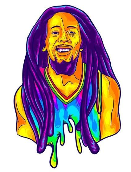 T422 Regular Fit Printed T-Shirt Bob Marley