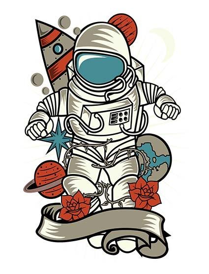 T460 Regular Fit Printed T-Shirt Astronaut