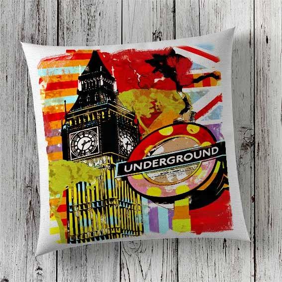 C4 Cushion Cover Sublimation Print London Big Ben Underground