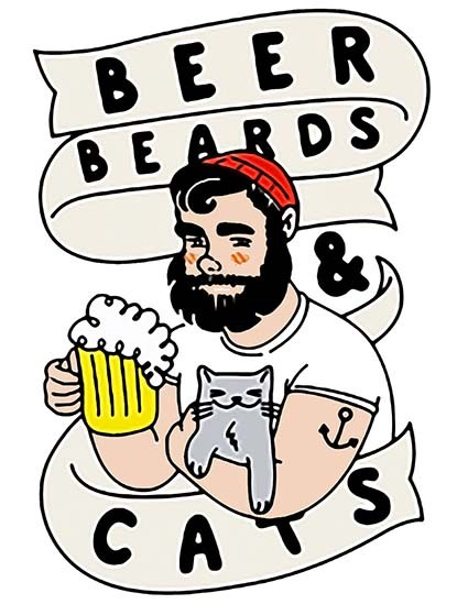 T501 Regular Fit Printed T-Shirt Beer Beards and Cats