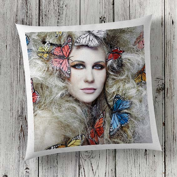 C58 Cushion Cover Sublimation Print Woman with Butterflies