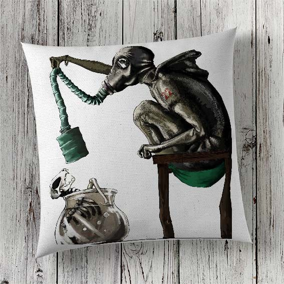 C59 Cushion Cover Sublimation Print Gas Mask