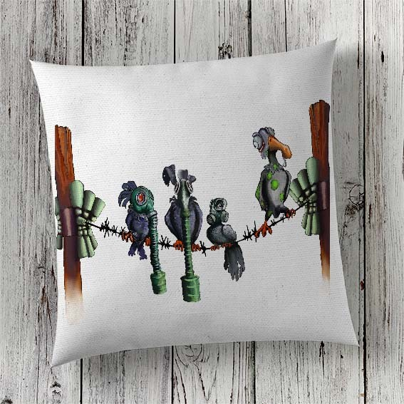 C60 Cushion Cover Sublimation Print Gas Mask Birds