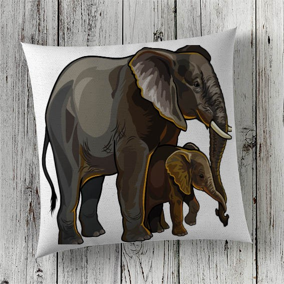 C63 Cushion Cover Sublimation Print Elephants