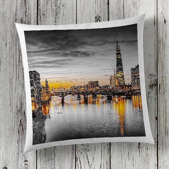 C64 Cushion Cover Sublimation Print London Thames Skyline