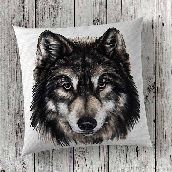 Print Wolf in Cushion Cover London