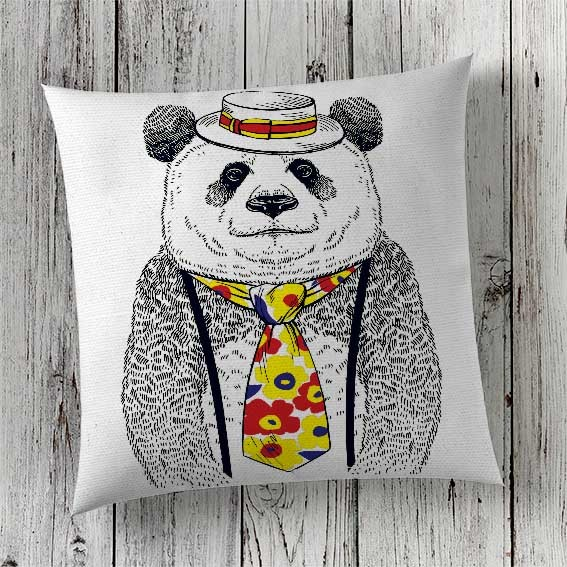 Print Panda in Cushion Cover London