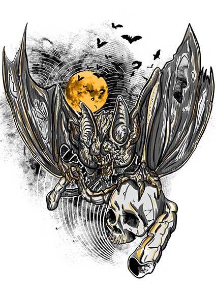 T09 Regular Fit Printed T-Shirt Bat and Skull