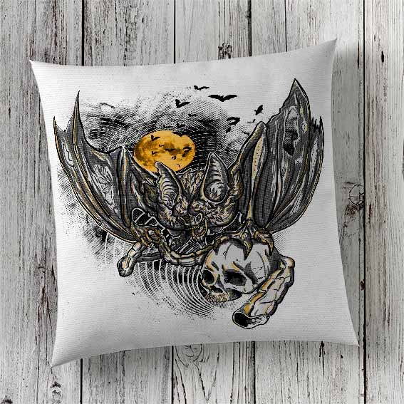 C9 Cushion Cover Sublimation Print Bat and Skull