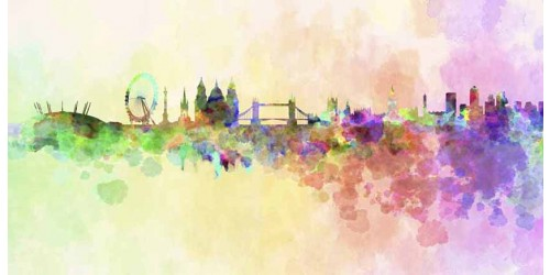 R1914 Canvas Wall Art Canvas Print London Water Color
