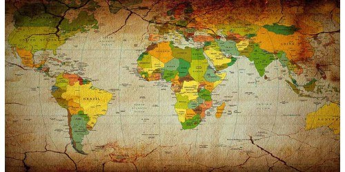 R2774 World Map Canvas Wall Art Canvas Print