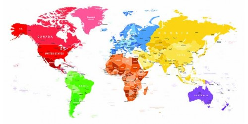 R2823 World Map Canvas Wall Art Canvas Print