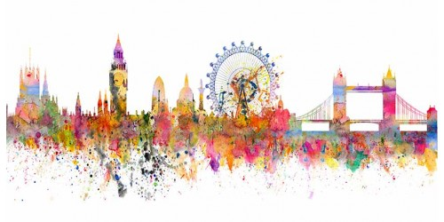 R2953 Canvas Wall Art Canvas Print London Water  Colour