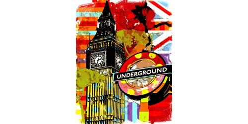 T04 Regular Fit Printed T-Shirt London Big Ben Underground